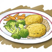 Plate with brocolli, carrots, veggie burgers and potatoes, on a brown background