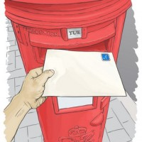Hand posting a blank, unaddressed letter into a red postbox