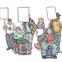A small group of six protestors, including two who are using mobility devices.