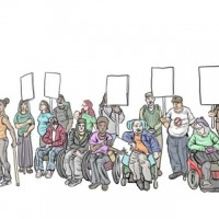 A group of people, including people using mobility devices, holding placards. A woman in an orange vest with a walking stick is being interviewed and filmed.